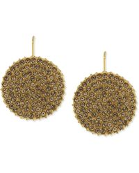 Vince Camuto - Goldtone Pave Circle Disc Drop Earrings - Lyst