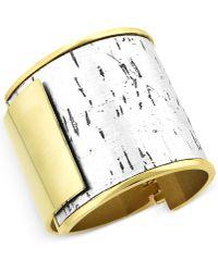 Vince Camuto - Two Tone Metallic Cork Bangle Bracelet - Lyst