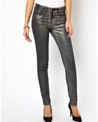 2nd Day Sin Coated Wash Skinny Jeans - Metallic