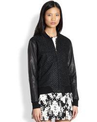 Bec & Bridge - Ikebana Leather-Sleeved Grid-Patterned Lurex Jacket - Lyst