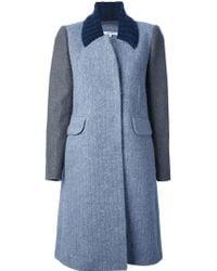 Carven Bicolour Coat - Blue