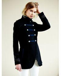 Free People Military Wool Coat - Black