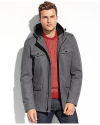 Guess Coats, Wool Four-Pocket Hooded Coat - Lyst