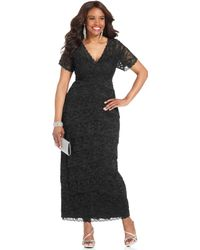Marina - Shortsleeve Beaded Lace Gown - Lyst