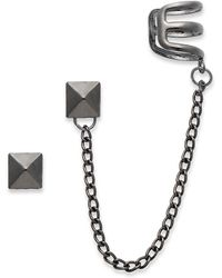 Material Girl - Antique Silvertone Spike and Cuff Earrings - Lyst