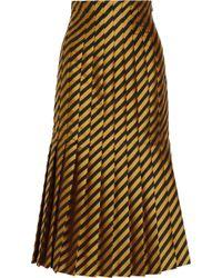 Miu Miu Pleated Striped Taffeta Skirt yellow - Lyst