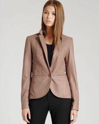 Reiss - Leather Blazer Aylish Weave - Lyst