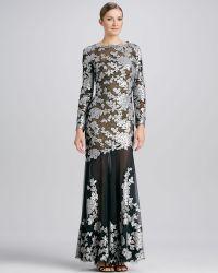 Tadashi Shoji Longsleeve Metallic Lace Gown - Lyst