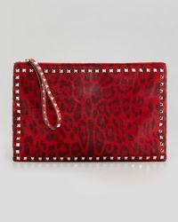 Valentino Rockstud Leopardprint Calfhair Zip Clutch Bag Red - Lyst