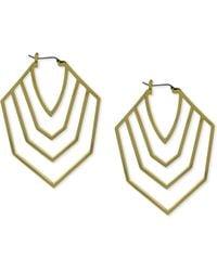 Vince Camuto - Goldtone Cutout Chevron Clicktop Hoop Earrings - Lyst