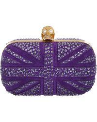 Alexander McQueen Suede Crystal Britannia Skull Box Clutch - Lyst