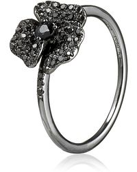 AS29 - Black Diamond Mini Pave Flower Ring - Lyst
