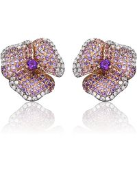 AS29 | Amethyst Pave Diamond Flower Earrings | Lyst