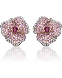AS29 | Pink Pave Diamond Flower Earrings | Lyst