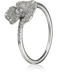 AS29 - White Diamond Mini Pave Flower Ring - Lyst