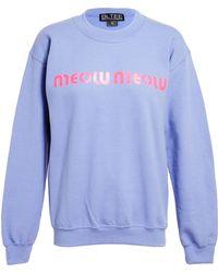 Brian Lichtenberg Unisex Meow Meow Cottonblend Sweatshirt - Blue