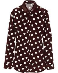Burberry Prorsum - Heartprint Silkcrepe Shirt - Lyst