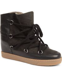 Isabel Marant Nowles Suede and Leather Shearling Lined Ankle Boots - Lyst