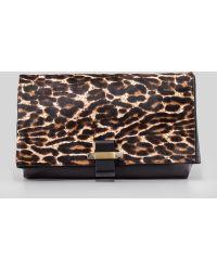 Lanvin Swag Leopard Calf Hair Foldover Clutch Bag - Lyst