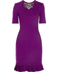 Matthew Williamson Winter Embellished Stretch Wool Crepe Dress - Lyst