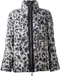 Moncler Gamme Rouge Animal Print Padded Jacket - Grey