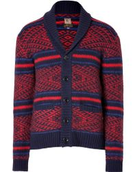 PRPS - Wool Button Up Cardigan in Redblack - Lyst