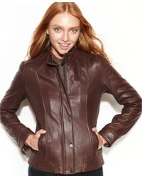 Tommy Hilfiger Leather Bomber Jacket - Brown