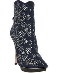 Alice + Olivia Dumont Studded Suede Ankle Boots - Lyst