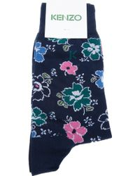 KENZO Floral Socks - Blue