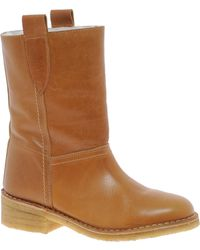 Ganni Leather Ankle Boot - Brown