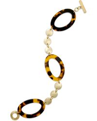 Lauren by Ralph Lauren - Gold-Tone Oval-Shaped Tortoise And Beaded Link Toggle Bracelet - Lyst