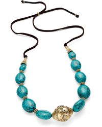 Lauren by Ralph Lauren - Goldtone Reconstituted Turquoise Beaded Suede Slide Cord Necklace - Lyst