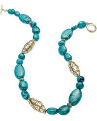 Lauren by Ralph Lauren - Worn Goldtone Reconstituted Turquoise Textured Bead Necklace - Lyst