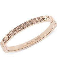 Michael Kors Rose Goldtone Pave Hinge Bangle Bracelet - Lyst