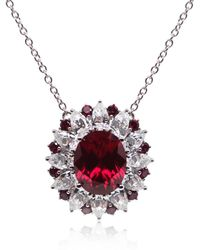 Carat* - Scarlet Oval Cluster Pendant with Chain - Lyst