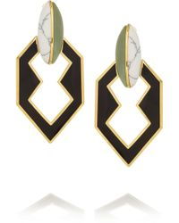 Eddie Borgo Gold Plated New Jade and Howlite Earrings - Black
