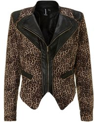 Izabel London - Leopard Double Collar Biker Jacket - Lyst