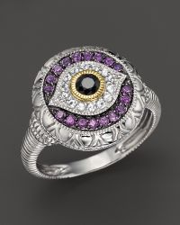 Judith Ripka Sterling Silver Evil Eye Ring with Black and White Sapphires and Amethyst - Lyst
