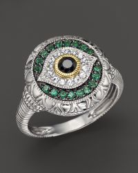 Judith Ripka Sterling Silver Evil Eye Ring with Black and White Sapphires and Green Quartz - Lyst