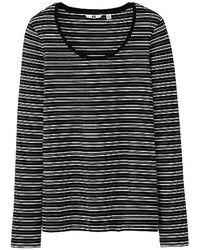 Uniqlo Premium Cotton Striped Crew Neck Long Sleeve Tshirt - Lyst