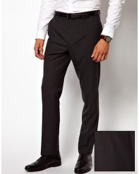 Asos Slim Fit Smart Trousers In Charcoal - Lyst