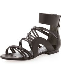 Boutique 9 - Snakeembossed Strappy Sandal Black - Lyst