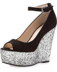 Boutique 9 - Christine Sparkle Platform Wedge Black-silver - Lyst