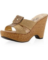 Dezario - Flip Cork Wedge Slipon Gold - Lyst