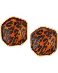 Kenneth Jay Lane Leopardprint Button Clip Earrings - Lyst