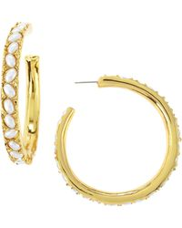 Kenneth Jay Lane Pearly Cabochon Large Hoop Earrings - Lyst