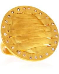 Kevia - Golden Woven Disc Ring - Lyst