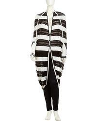 L.a.m.b. Striped Pointelle Cocoon Cardigan - Lyst