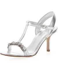 Pelle Moda Zanja Embellished Sandal Silver - Lyst
