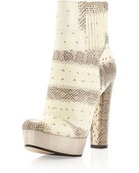 Rachel Zoe London Snakeskin Platform Ankle Boot - Lyst
